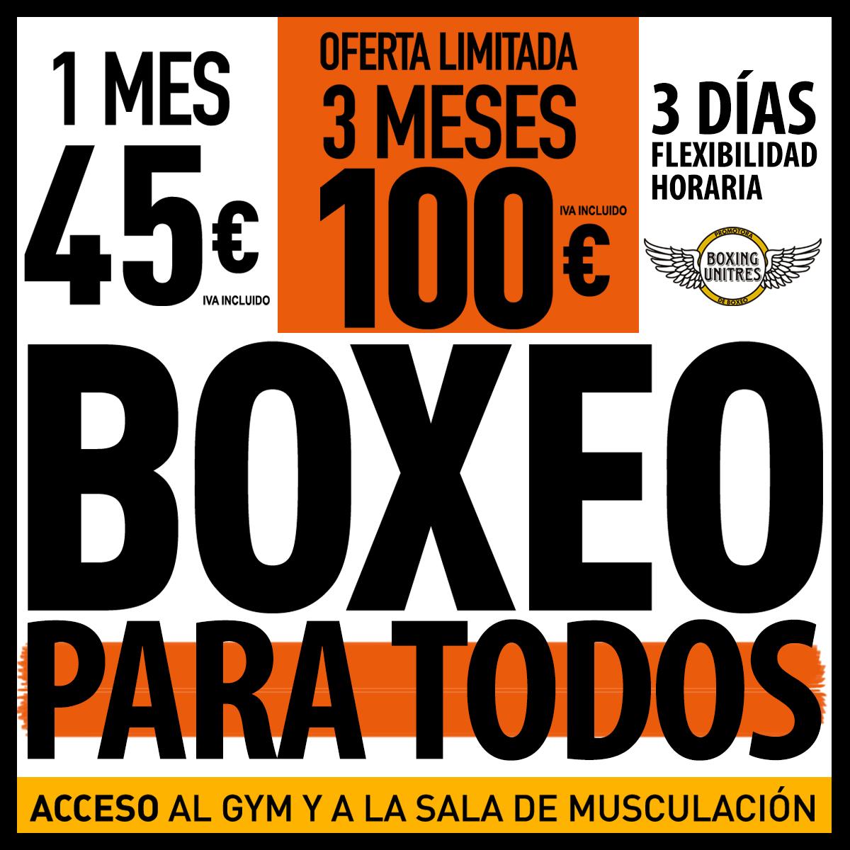 precios de clases del gimnasio boxeo