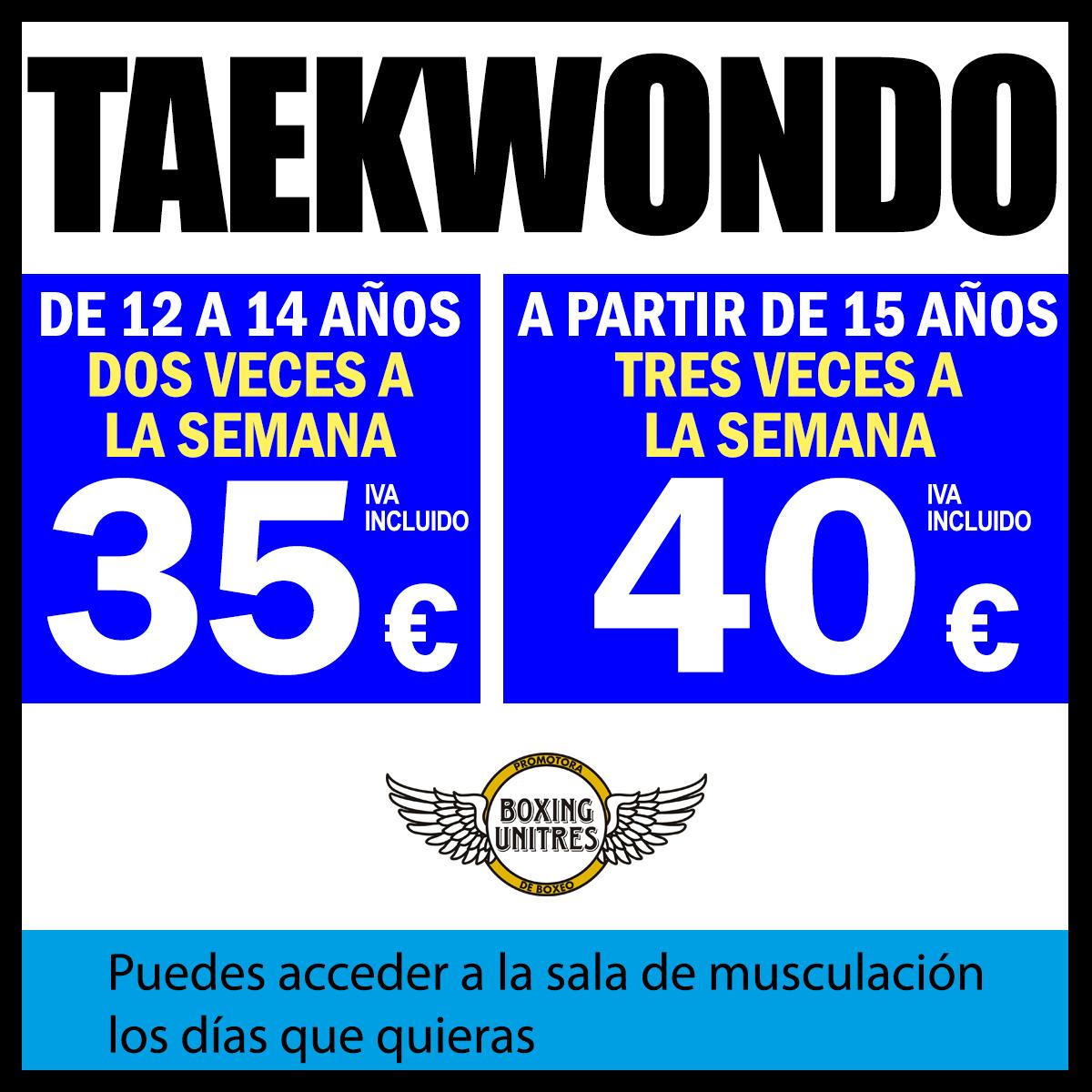 precios de clase del gimnasio taekwondo